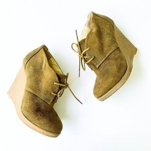 Enzo Olive Green Wedge Lace up Booties